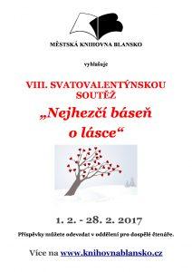 Plakát + pozvánka - SVATOVALENTÝNSKÁ SOUTĚŽ 2017